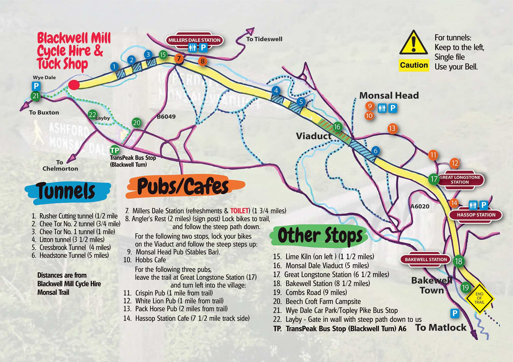 Monsal Trail Map - Cycle Hire, Blackwell Mill